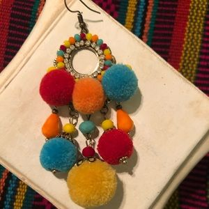 Jewelry - Colorful Earrings with Beads & PomPoms